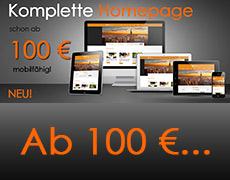 Komplette Homepage – mobilfähig – schon ab 100 €!